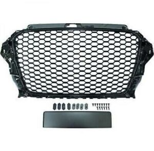 AUDI A3 8V 2012>2016 RS STYLE GLOSS BLACK HONEYCOMB DEBADGED GRILLE NEW