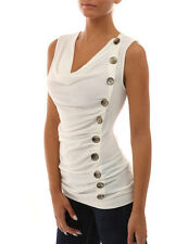 Women Cowl Neck Sleeveless Vest Tops Casual Button Tank T-shirt Tops UK 6-14