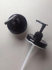 Set of 2 Mason Jar Soap or Lotion Dispenser Lids w/ Pumps. All Black Lid & Pump.