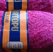 2 x 100g Textured Milano Fine Boucle Yarn, Fuchsia. Knit/Crochet/Weave/Crafts