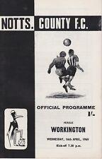 NOTTS COUNTY v WORKINGTON ~ 16 APRIL 1969 ~  FOOTBALL PROGRAMME