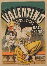JULES CHERET Valentino. Bals concerts, Art Nouveau Belle Epoque Poster
