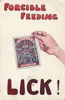 1912 VINTAGE COMIC ENGLAND LLOYD GEORGE FORCIBLE FEEDING LICK NHS POSTCARD