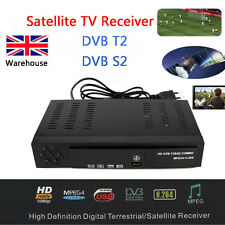 UK Digital Satellite TV Receiver Combo DVB T2 + S2 FTA HD 1080P Decoder Digi BOX