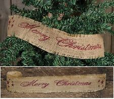 "Lot 2 rolls Merry Christmas BURLAP RIBBON 2"" x 10' holiday garland country star"