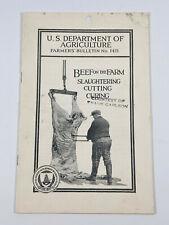 Vintage 1924 USDA Farmer's Bulletin 1415 Beef Slaughtering kansas Butcher