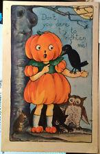 PUMPKIN GIRL Talks to Crow, HALLOWEEN Post Card 1920 OWL, BLACK CAT