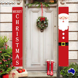 Christmas Porch Sign Oxford Cloth Xmas Door Banner Wall Hanging Party Decoration