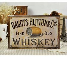 Vintage Tin Sign Wall Decor Retro Metal Art Bar Pub Poster Old Whiskey Hutton