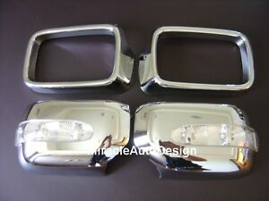 2 Chrome Mirror Covers with LED Turn Signals For BMW E36 3-Series & E34 5-Series