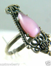 STERLING SILVER 925 FILIGREE PINK STONE RING ONE SIZE ADJUSTABLE SIGNED