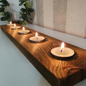 Rustic Tea Light Candle Holders Redwood Pine Handmade In UK Natural Wood Gift