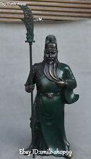 47CM Pure Bronze Painting Guan Gong Yu General Warrior God Immortal Knife Statue
