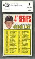 Jim Kaat Cl4 Card 1967 Topps #278 Minnesota Twins BGS BCCG 9