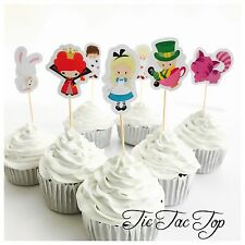 12x Alice In Wonderland Cupcake Food Topper *HANDMADE* Party Supplies Lolly Bag