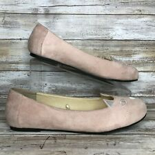 Torrid 10M Pink Faux Suede Cat Face Loafers Flats Embroidered Slip On Casual