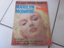 VINTAGE 1962 MARILYN MONROE HER LAST UNTOLD SECRETS MAGAZINE VERY RARE PIN UP