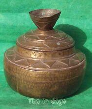 Ancien Pot à Eau Moghol Ø=23cm 1,2g Laiton Martelé Artisanat Inde