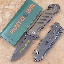 "8 3/8"" Spring Assisted HUNT-DOWN Tactical Pocket Folding Knife Glass Breaker tan"