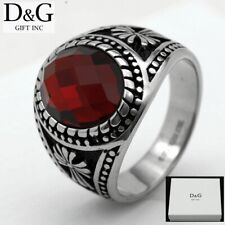 DG Men's Silver Stainless Steel Oval  Red Ruby CZ,CROSS Ring,8 9,10,11,12 13,BOX