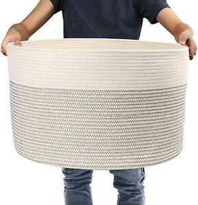 Large Woven Storage Basket 13''x21'' Cotton Rope Organizer Baby Toy Laundry