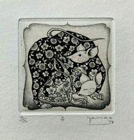 Akio YAMAO Signed & Numbered Mouse Original Miniature Etching 1978 12/150