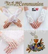 First Holy Communion Flower Girl Pageant Wedding Fingerless Diamante Gloves