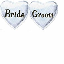 BRIDE & GROOM  HEART SHAPED FOIL BALLOONS WEDDING PARTY DECORATION 2 SELF SEAL