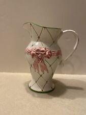 Ceramic Pitcher 1995 Ribbons N Bows Alabaster For Portugal Ceramics