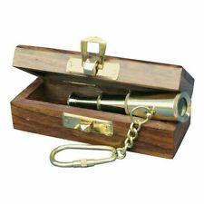 Teleskop Schlüsselanhänger, Mini Fernrohr, Messing in der Holzbox