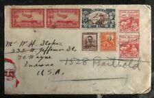 1930s New Zealand Airmail Cover To Wayne IN USA Santa Claus Sticker