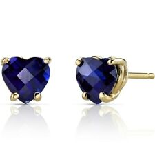 2.3 ct Heart Shape Created Blue Sapphire Stud Earrings in 14K Yellow Gold