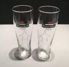 Beautiful Heineken Star Pint Glasses X2 20oz 100% Genuine Official NEW & UNUSED