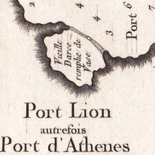 Carte Géographique XVIIIe Pirée Port Lyon Port Athènes Grèce 1764 Piraeus Πειραι