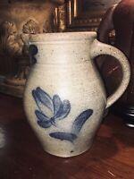 "Salt Glaze Blue Pottery Rowe Cambridge Pitcher 8"" Handmade 1983"