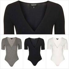 Ex Topshop Women's Wrap Front Body Half Sleeve Bodysuit Leotard Top RRP £18