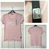 Replay Pink T Shirt Size Small S Women Short Sleeve Super Cool Print New (A754)