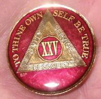 25 Year AA Sobriety Coin Medallion- Rich Mandarin Red Enamel 25th Year XXV