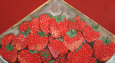 Vintage gouache painting still life with strawberries