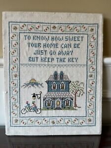 Completed Finished Cross Stitch - Sweet Home