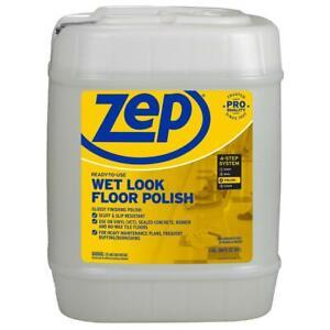 ZEP Wet Look Floor Polish 5-Gallon Long Lasting Shine Clear Finish Burnishing