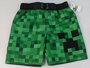 Minecraft Swimsuit Trunks Creeper XS Boys Shorts Green Black NEW 1159