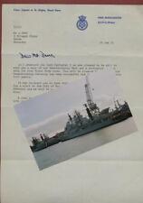 HMS Manchester.  Photograph & Letter. Captain A N Wigley 1983    zm2