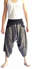 Thai fisherman pants Yoga Harem pants Samurai aladin black cotton, Free size