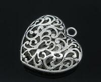 KUS 5 Antik Silber Filigran Herz Charms Anhänger für Kette Metall Perlen Beads