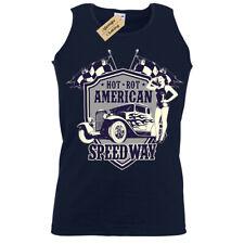 Hot rot american Speedway T-Shirt Rockabilly pinup Vest Mens