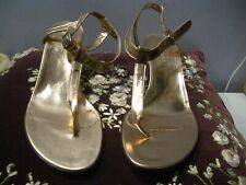 JILL STUART ROSE GOLD TONE LEATHER THONG WITH ANKLE STRAP LADIES SANDALS  7 M