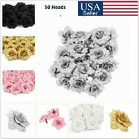 50Pcs Artificial Fake Roses Silk Flower Heads Wedding Party Home Garden Decor US