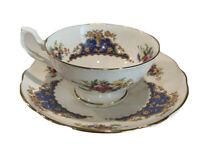 Dinette Fine Bone China Vintage, Blue, Floral Tea Cup And Saucer England