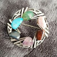 VINTAGE Scottish Theme Brooch Pin Silvertone multicolored agate Stone chips